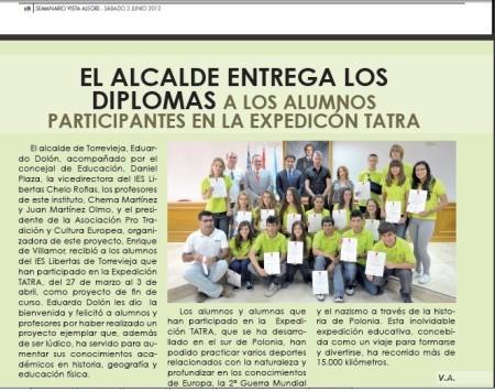 Conclusiones y entrega de Diplomas Expedición Educativa Tatra I: 2012 en el Salón de Plenos del Ayuntamiento de Torrevieja